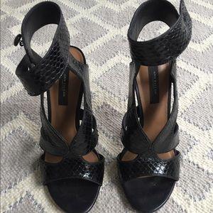 Ann Taylor faux snakeskin black heels size 7.5